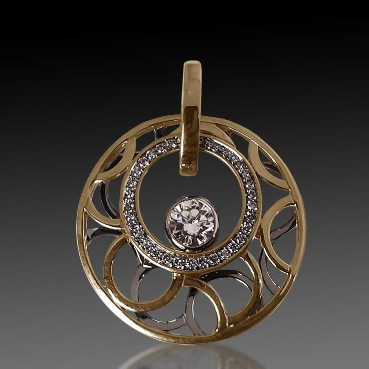 14 karat yellow and white gold open style pendant with diamonds