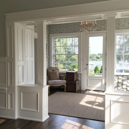 Archway and wainscoting.