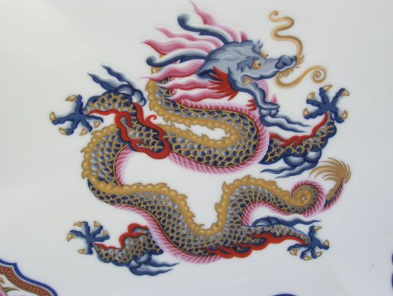 """Asian Dragon Plate """"Chinoiserie Collection"""" Elizabeth Arden 1986"""
