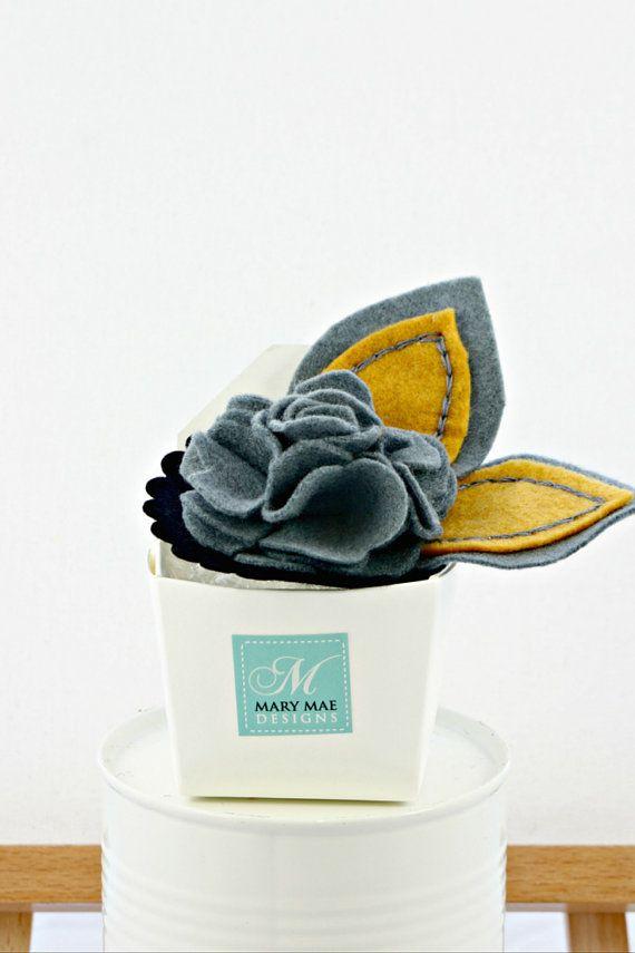 Felt flower brooch - smokey grey and mustard