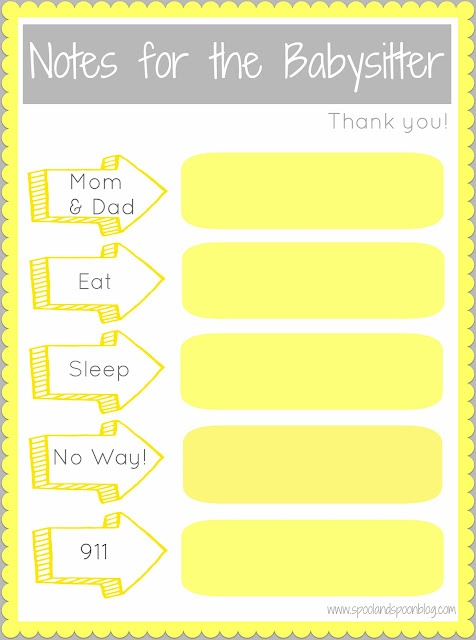 Notes For The Babysitter – {Free Printable}