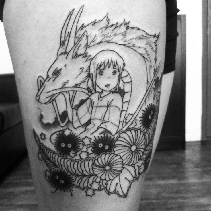 Session one of three: my Spirited Away tattoo with Chihiro, Haku and the soot balls.  I absolutely love Hayao Miyazaki's work