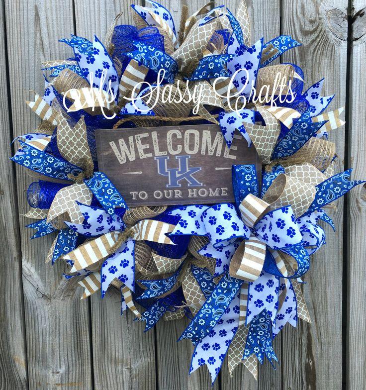 Kentucky Wildcats Wreath - University of Kentucky Wreath - Wildcats Deco Mesh…