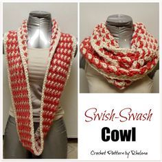 FREE crochet pattern for the Swish-Swash Cowl. The cowl is crocheted in two colors and looks great on both sides of the cowl.
