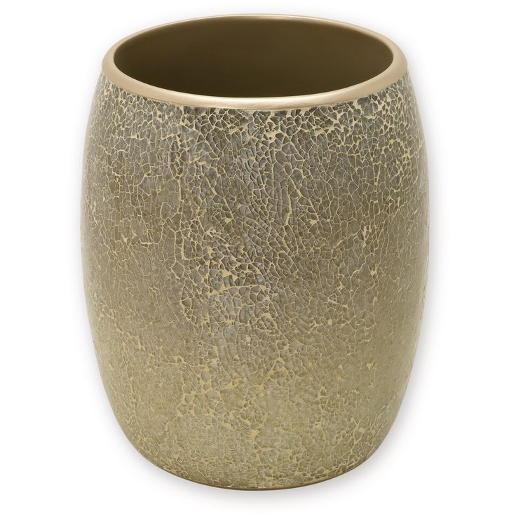 Huntington Resin and Cracked Glass Contemporary Waste Basket Champagne - India Ink