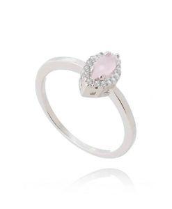 anel rosa quartzo prata corte marquesa semi joia