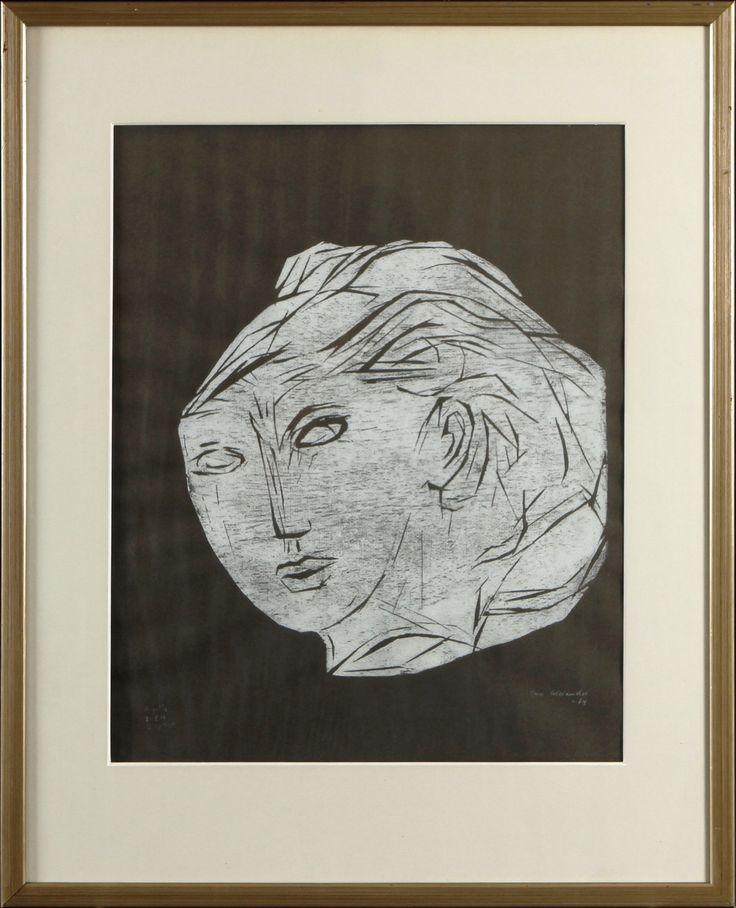 Ina Colliander: Nainen, 1964, puupiirros, 50x40 cm, edition tpl'a - Hagelstam A123