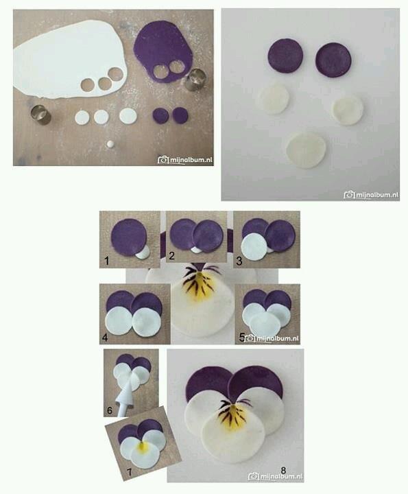 making fondant violets