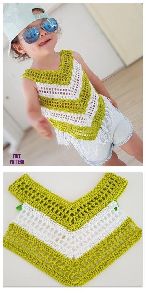 Easy Crochet Little Girl Summer Top Kostenlose Häkelanleitung – Video   – Häkeln
