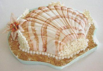 birthday cakes decorated with icng | Seashell Cake, Coral, Pearls and Gumpaste Lily