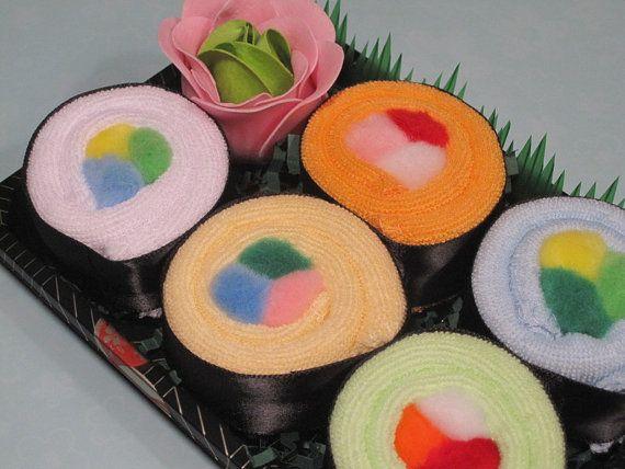 Baby Sushi Gift Set - Baby Washcloth Shower Gift - Neutral Gender - Rainbow Roll on Etsy, $15.75