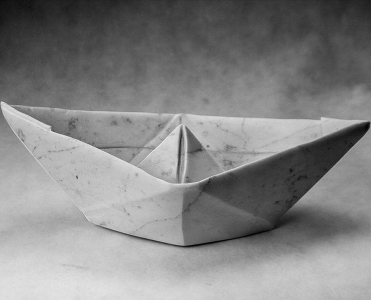 Michal Jackowski, 48 x 22 x 19 cm, Carrara white marble, 2015  #sculptures #humans #antique #pinart #creative #passion #love #art #classic #boat #marble