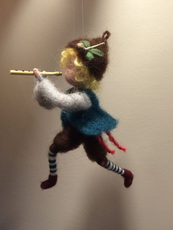 Needle feted doll Waldorf inspired Shepherd with a pipe Wool Art doll Gift…