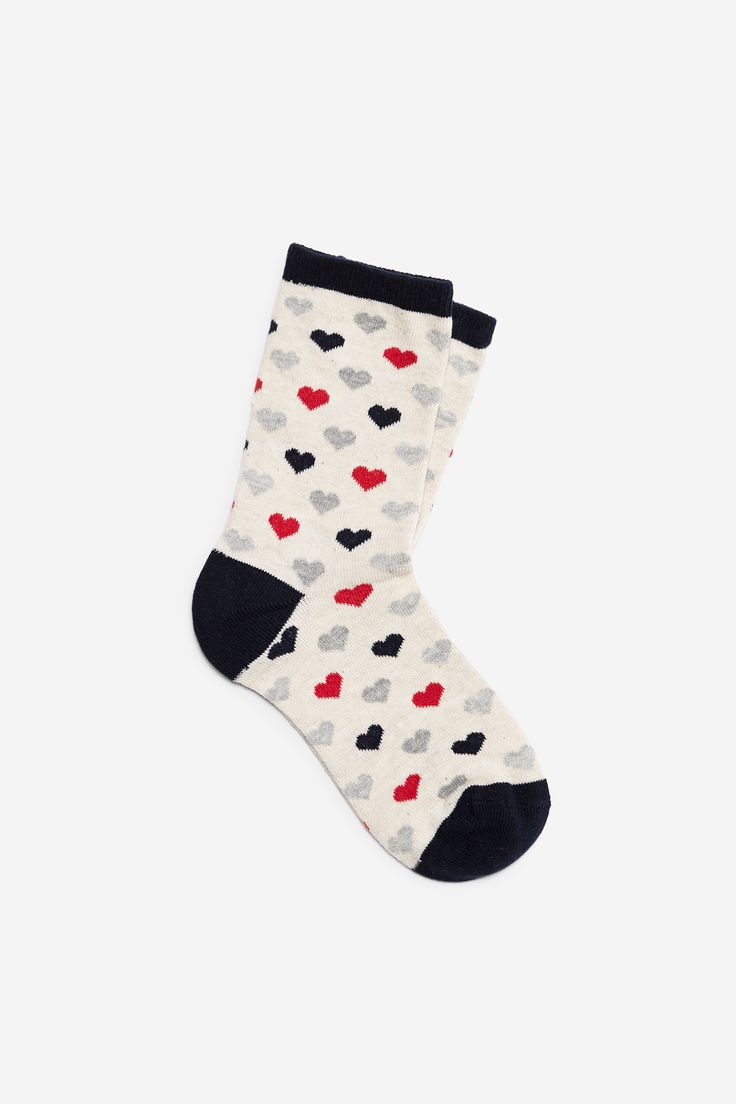 Z2018  Long socks with multicoloured heart print. With the toe, heel and cuff in a block colour. | Socks | Springfield Man & Woman