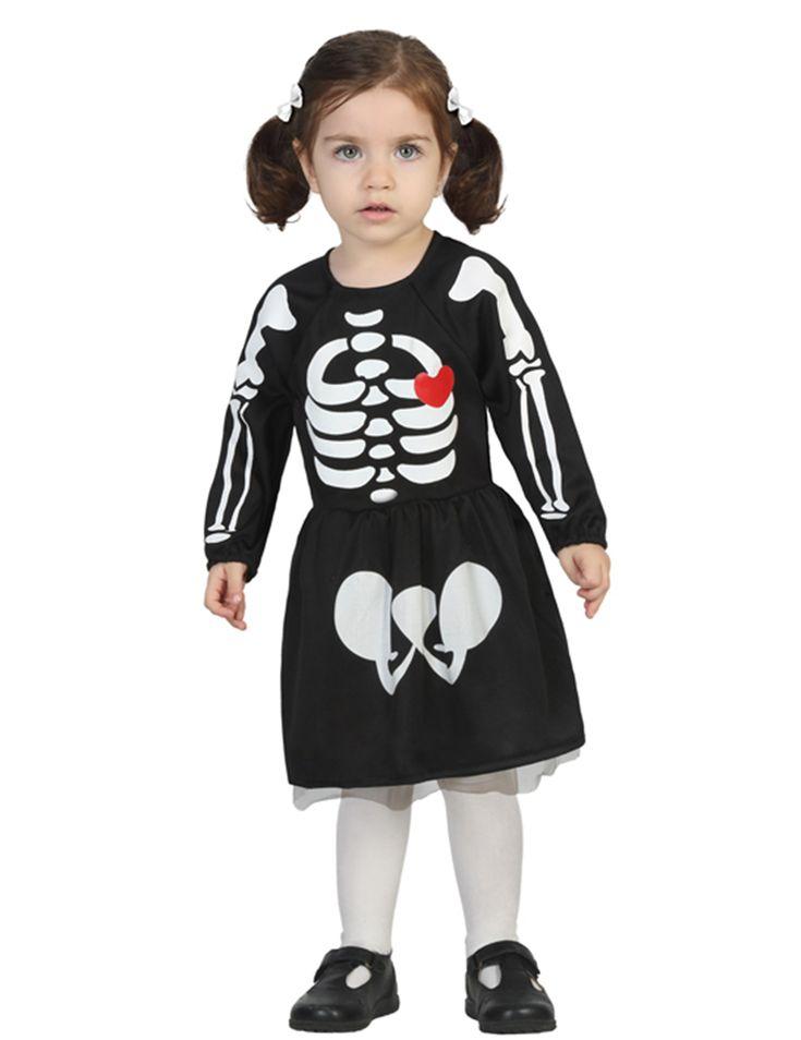 Disfraz de esqueleto bebé niña Halloween: Este vestido para niña es de esqueleto…