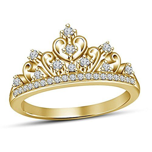 Round Brilliant Cut Diamond Disney Princess Crown Engagement Ring In 925 Silver Jewelry Watches Wedding Rings