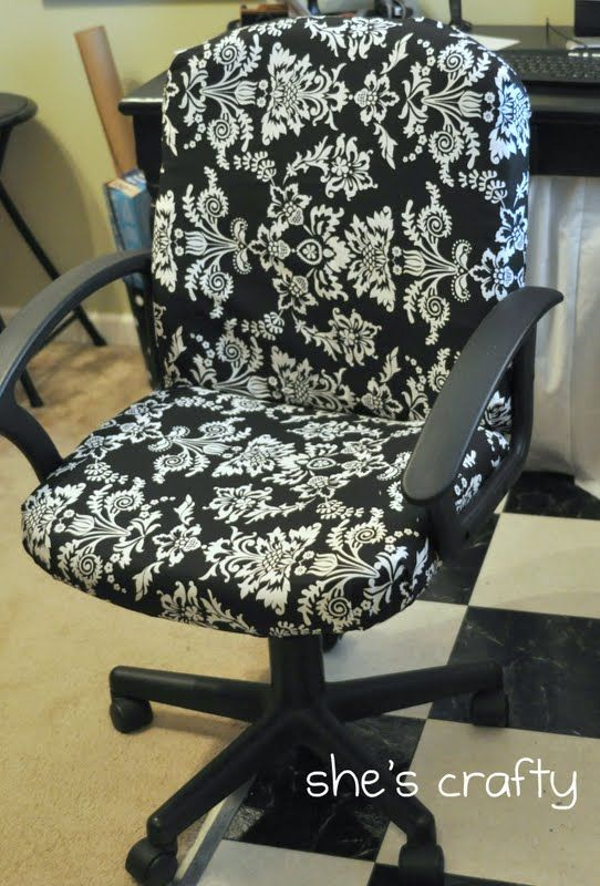 Recover an office chair.  What a great idea!  Must do for my sewing room.