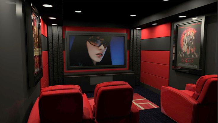Red And Black Home Theater Design With Great Theater