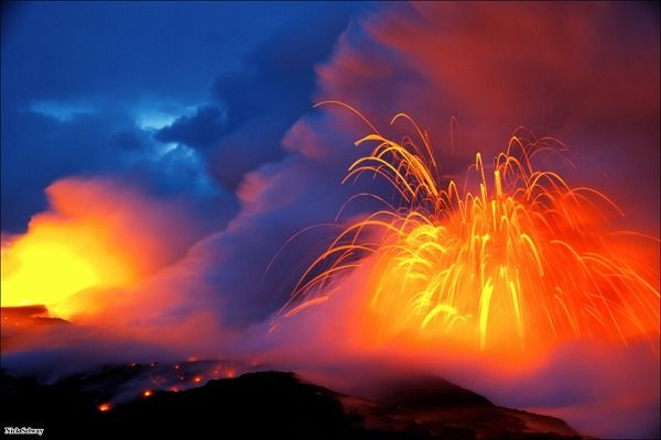 """""""Vibrant Explosion"""", by Nick Selway: volcano exploding on the Kalapana coastline"""