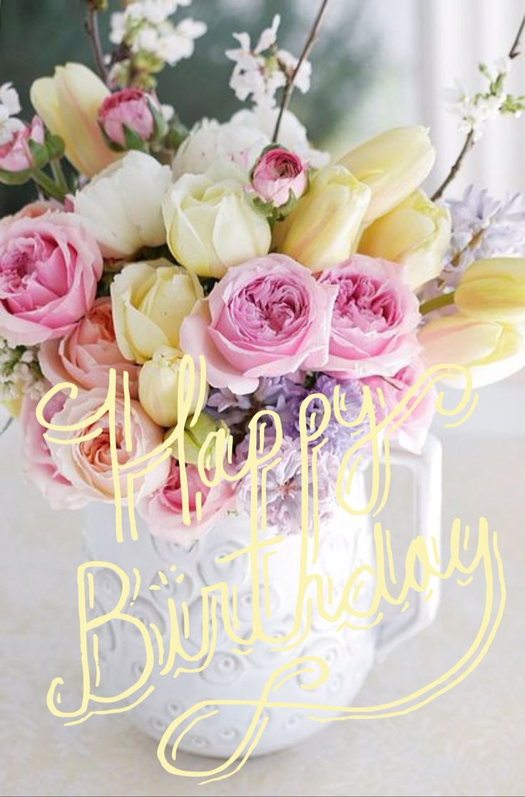 157 best happy birthday flower images on pinterest happy b day pretty pastel fresh cut flowers pink home flowers roses yellow bouquet decorate pitcher arrangement fresh cut izmirmasajfo Gallery