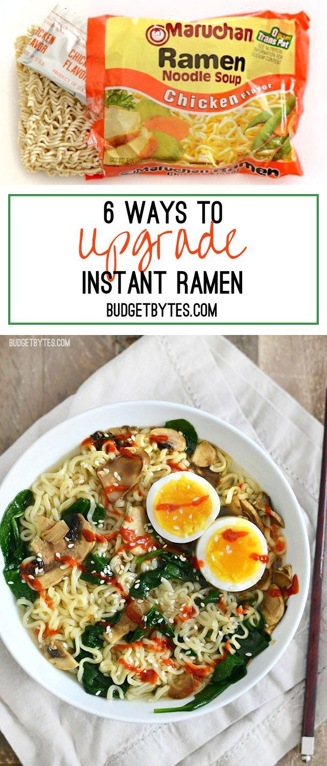 When all you have (or want) is one of those little cheap packets of noodles, here are 6 easy ways to upgrade instant ramen and make it a legit meal. - http://BudgetBytes.com