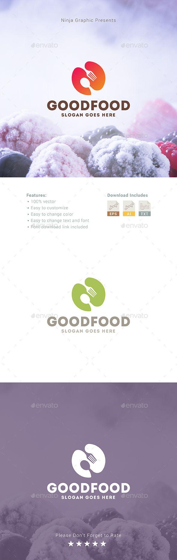 Good Food Logo Template Vector EPS, AI Illustrator #logotype Download here: https://graphicriver.net/item/good-food-logo/16970663?ref=ksioks