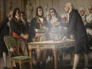 "Volta explains the principle of the ""electric column"" to Napoleon in 1801."