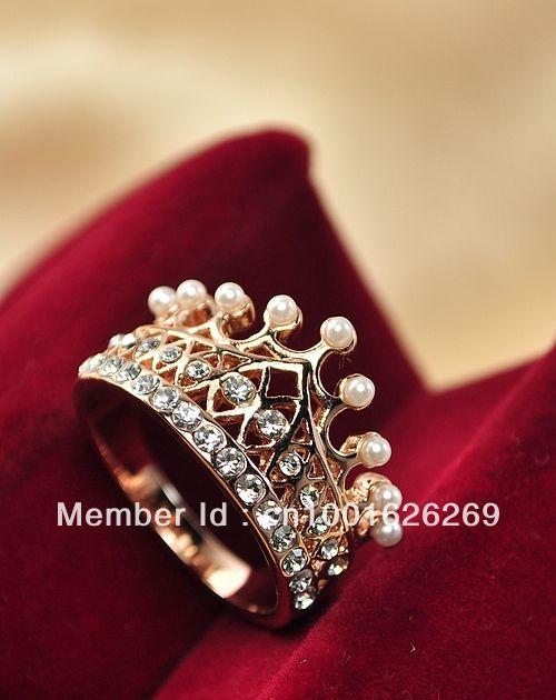 Naciones estilo forma de la corona Elegance Crystal & Peal anillo envío gratis                                                                                                                                                                                 Más