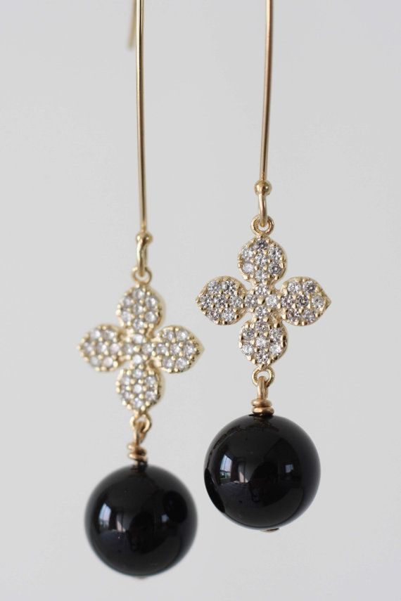 Onyx earrings CZ flower charm earrings Flower by moemiSugimura