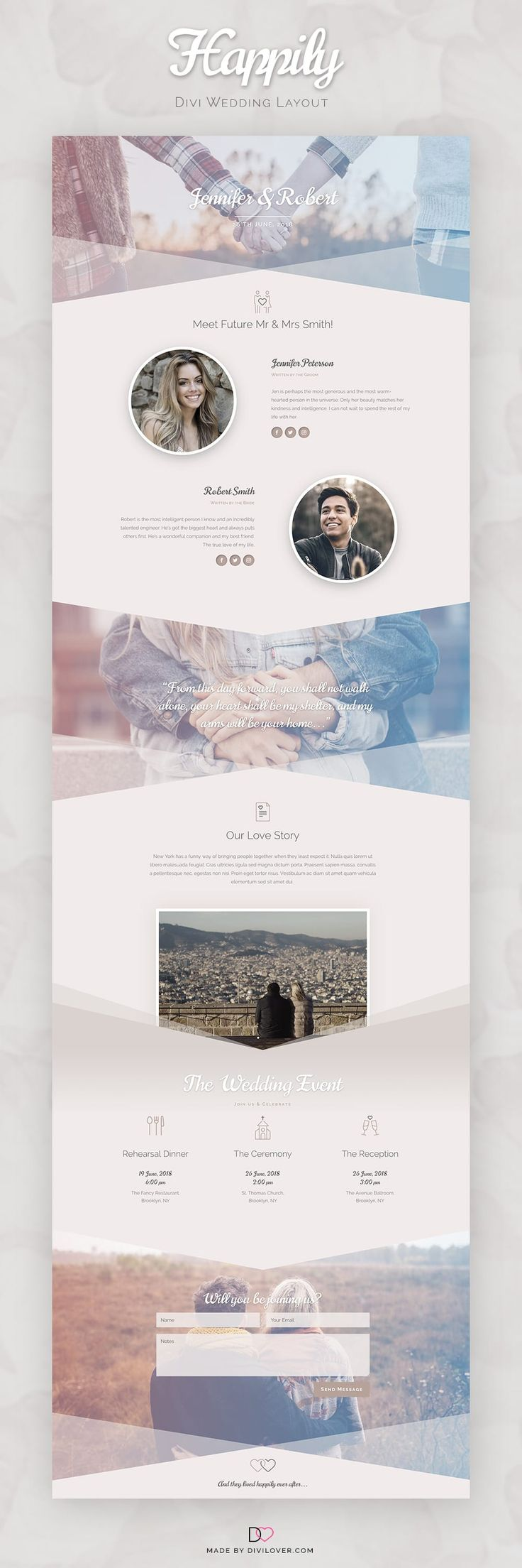 Happily is a free Divi layout made for all the lovely Brides and Grooms out there, who are looking for a simple way to connect with their wedding guests. Happily is a responsive Divi layout with a clean, elegant design and a beautiful color combination and custom wedding icons. It can be used as a …