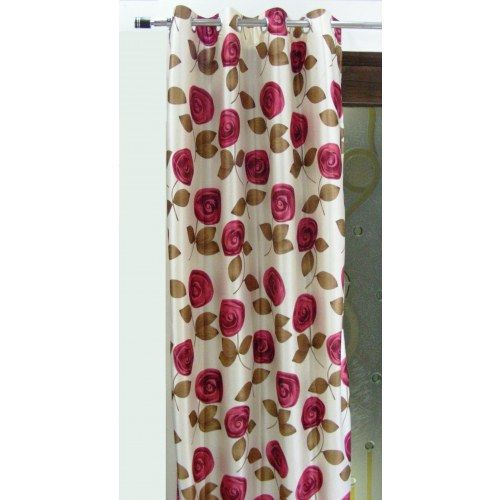 Beautiful Floral Red Extra Long Curtain (9x4 Ft)