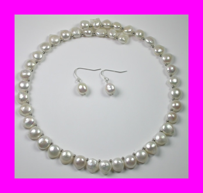 PEARL NECKLACE AND EARRINGS FREE SHIPPING