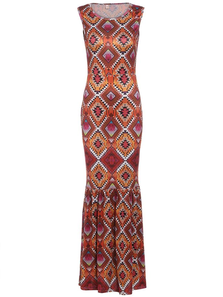 Geometric+Print+Ruffle+Hem+Maxi+Dress+16.99