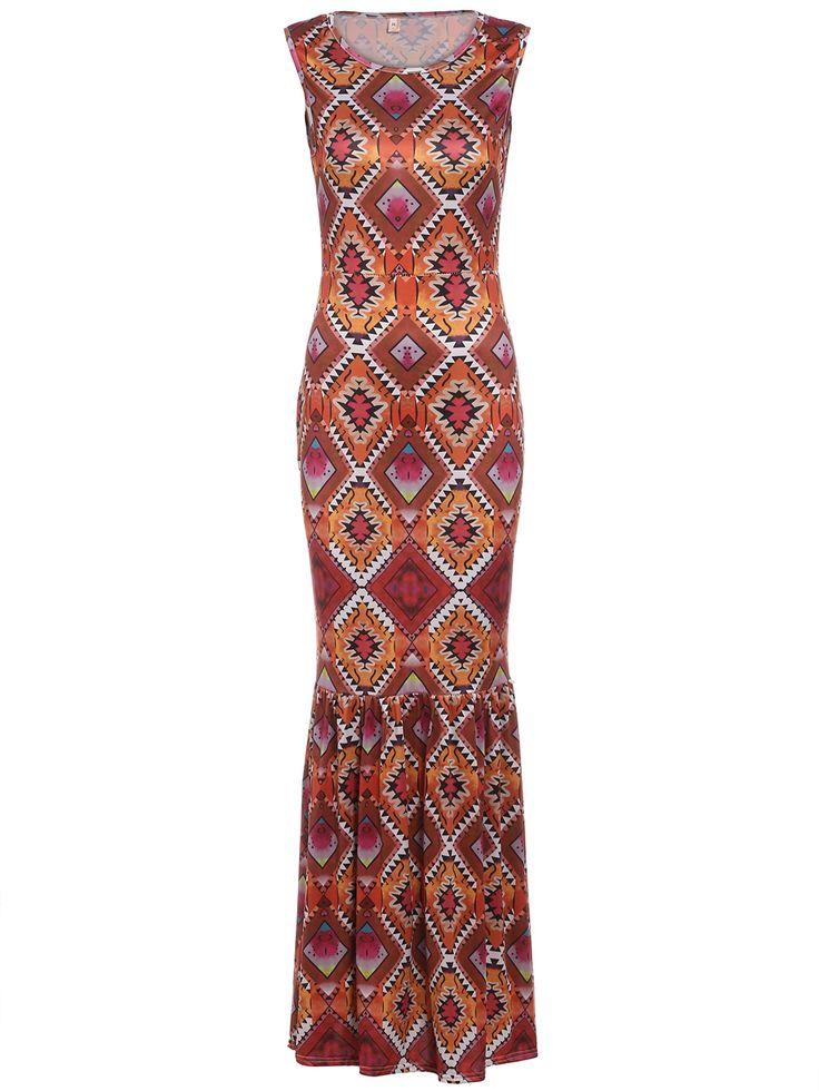 Geometric+Print+Ruffle+Hem+Maxi+Dress+16.99