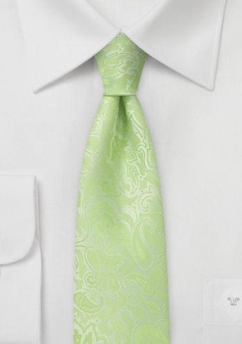 Schmale Krawatte gelb grün