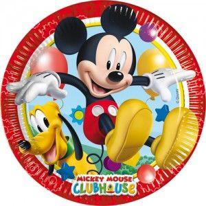Zestaw papierowych talerzyków Myszka Mickey Klub Przyjaciół. Ulubiony bohater rozbawi najmłodszych uczestników imprezy.