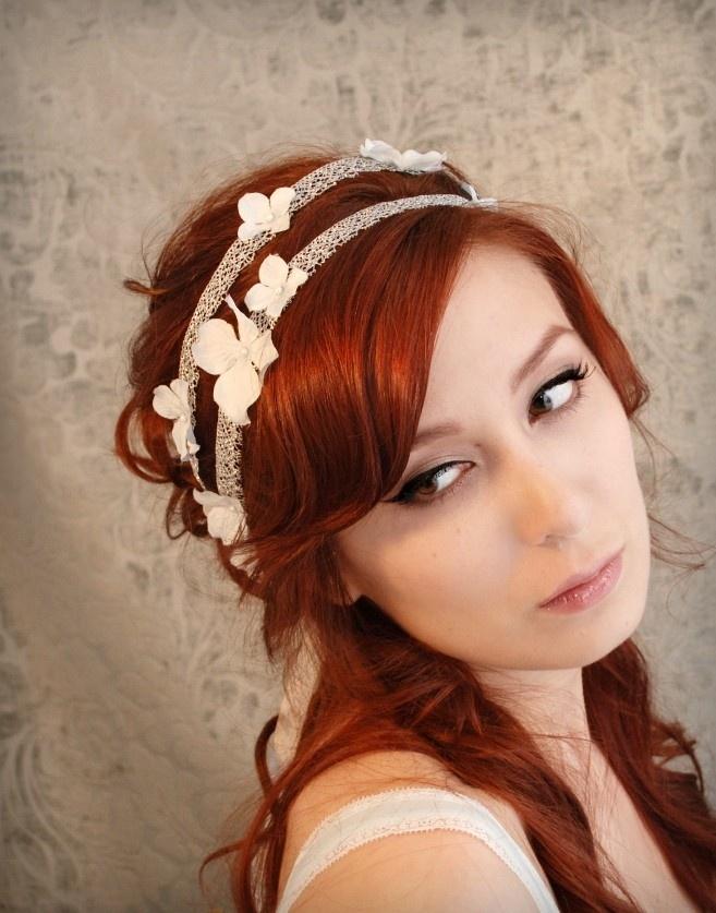 Wedding accessory floral hair band, pale blue petal headband, bridal head piece - Gossamer threads. $46.00, via Etsy.