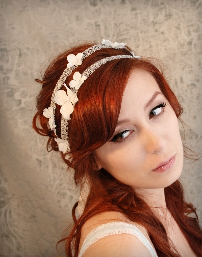 Wedding hair band, pastel blue flower headband, bridal head piece, silver hair accessories - Gossamer threads. $46.00, via Etsy.