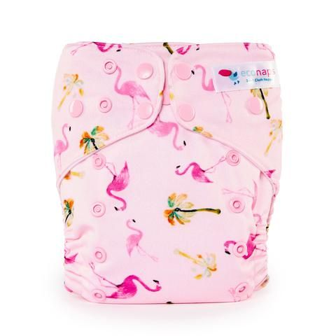 EcoNaps Designer Pink Flamingo Cloth Nappy   Hand designed in Byron Bay, Australia. Eco friendly, natural, and reusable diapers.