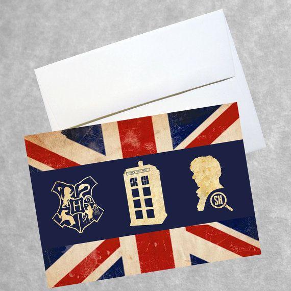 Fandom britannique Greeting Card - carte de vacances du cadeau d'anniversaire de couleur 5 x 7 - Doctor Who Harry Potter Sherlock Holmes BBC