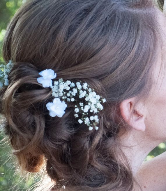 Small White Flower Hair Pins Set Of Two Wedding By