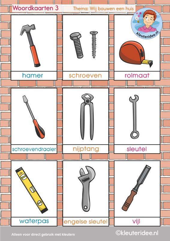 Woordkaarten 3, thema 'wij bouwen een huis', kleuteridee, free printable