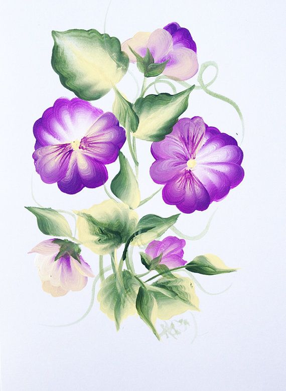 Purple Hand Painted Pansy Greeting Card - White Card via Etsy