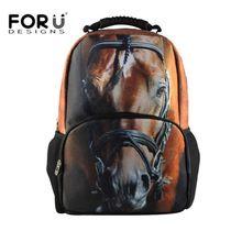 Hot 3D Animal Felt Backpacks Men's Travel Backpack Horse School Bag for Teenagers Men Children Bagpack College Student Bookbag(China (Mainland))