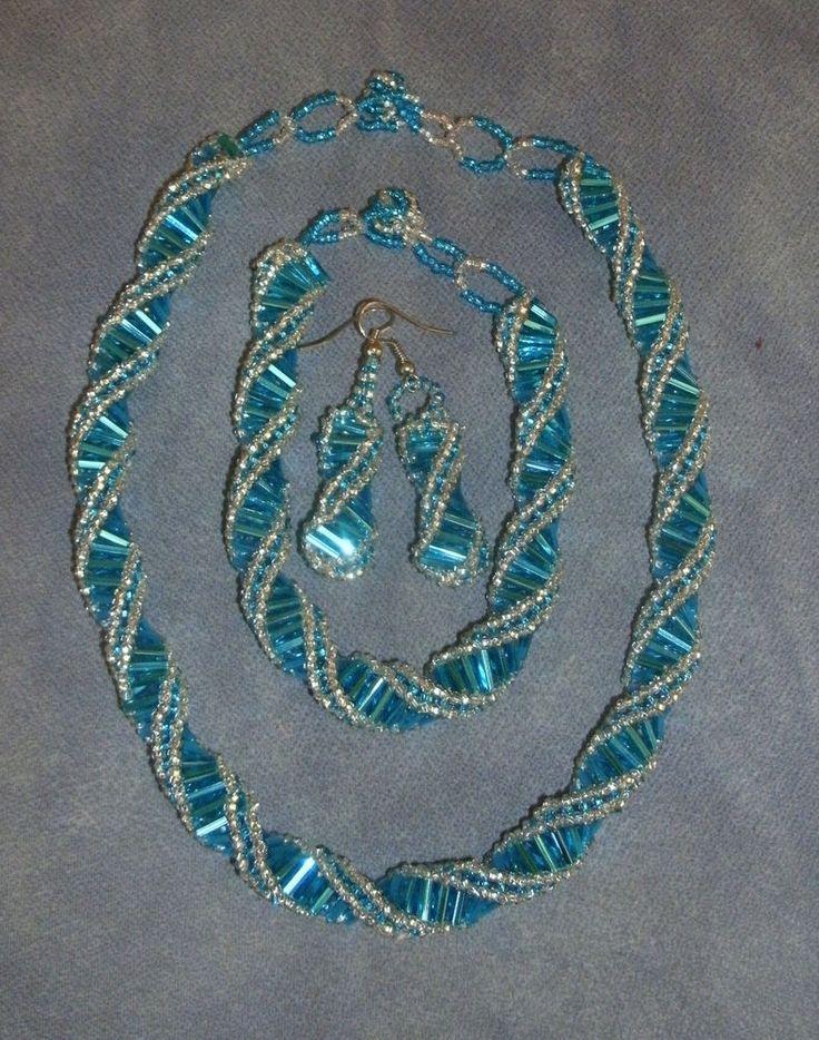 Necklace, Bracelet & Earring Sets,  Bugle Bead Peyote Stitch Twist  Style #Beaded