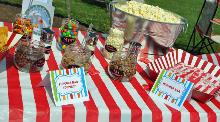 Circus carnival under the big top birthday popcorn bar with fabulous toppings tent style food - Carnival party menu ...