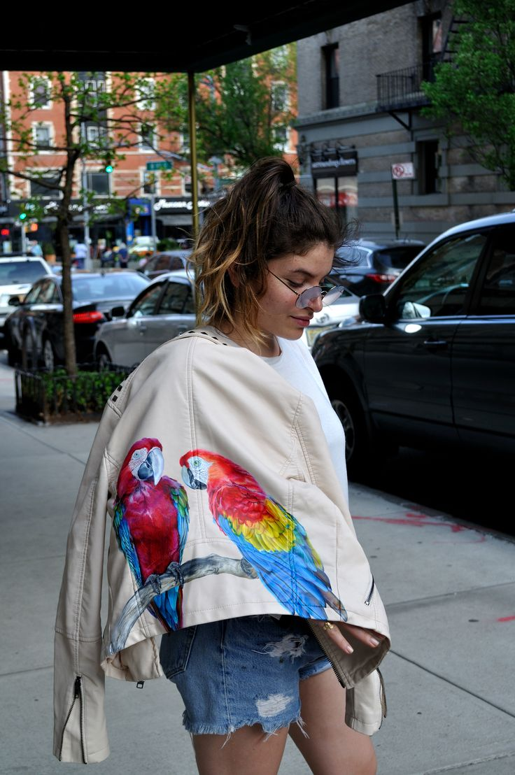 Parrot Jacket- Painted leather jacket by Melissa Alt