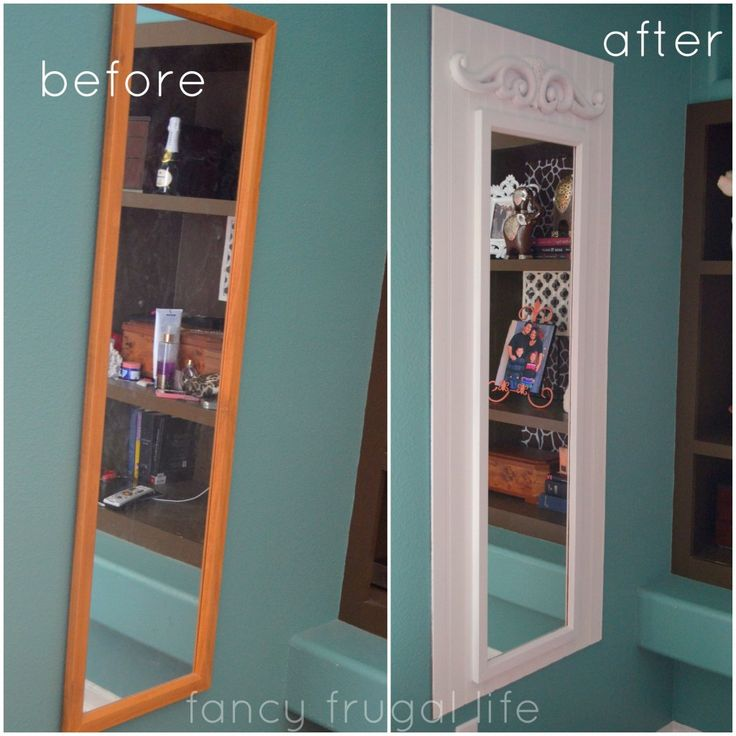 Oh, this is a great idea to make that plain old full length mirror awesome! mirror upgrade before and after