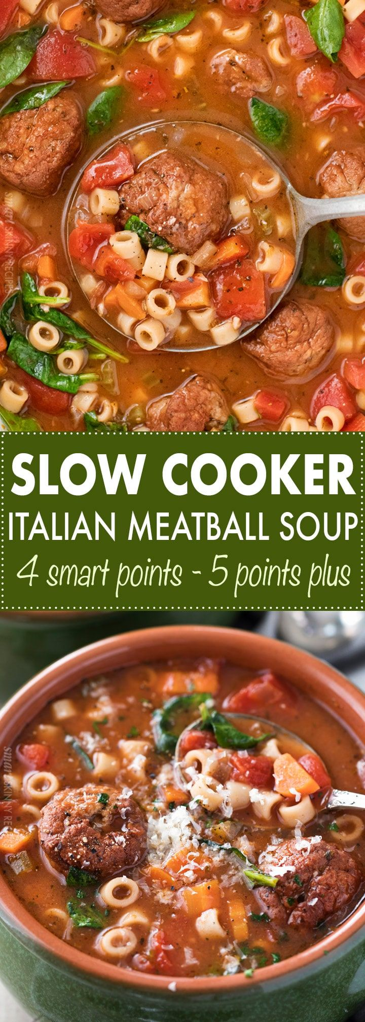 This Slow Cooker Italian Meatball Soup is hearty, easy, and incredibly satisfying!  You'll never guess it's only 4 smart points per serving. | #italian #meatball #soup #slowcooker #crockpot #weightwatchers #freestyle #smartpoints