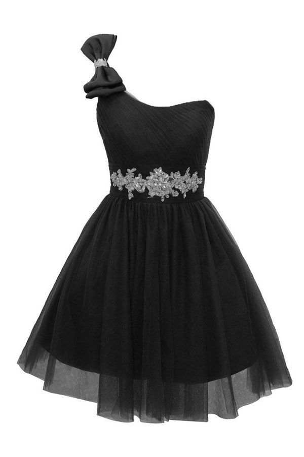Short A-line One Shoulder Tulle Homecoming Dress